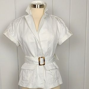 Banana Republic Trina Turk White Belted Jacket - 2